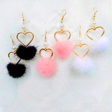 Lovely girl heart lovely hair bulb pearl earring no ear pierced clip earrings women adorn article Popular fur ball Soft autu