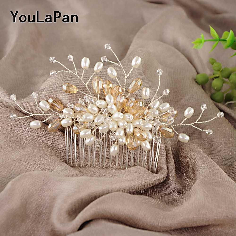 YouLaPan HP177 ヘアコームウェディング花嫁髪飾りブライダル髪飾りクリスタル髪飾り女性
