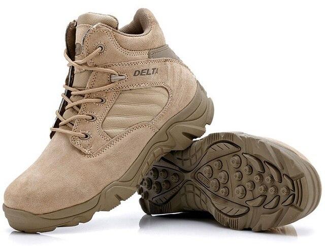 Высокое качество Осень Зима Военная Тактическая Сапоги Круглый Toe Мужчины Desert Combat Сапоги Открытый Мужские Кожаные Армейские Ботинки O314