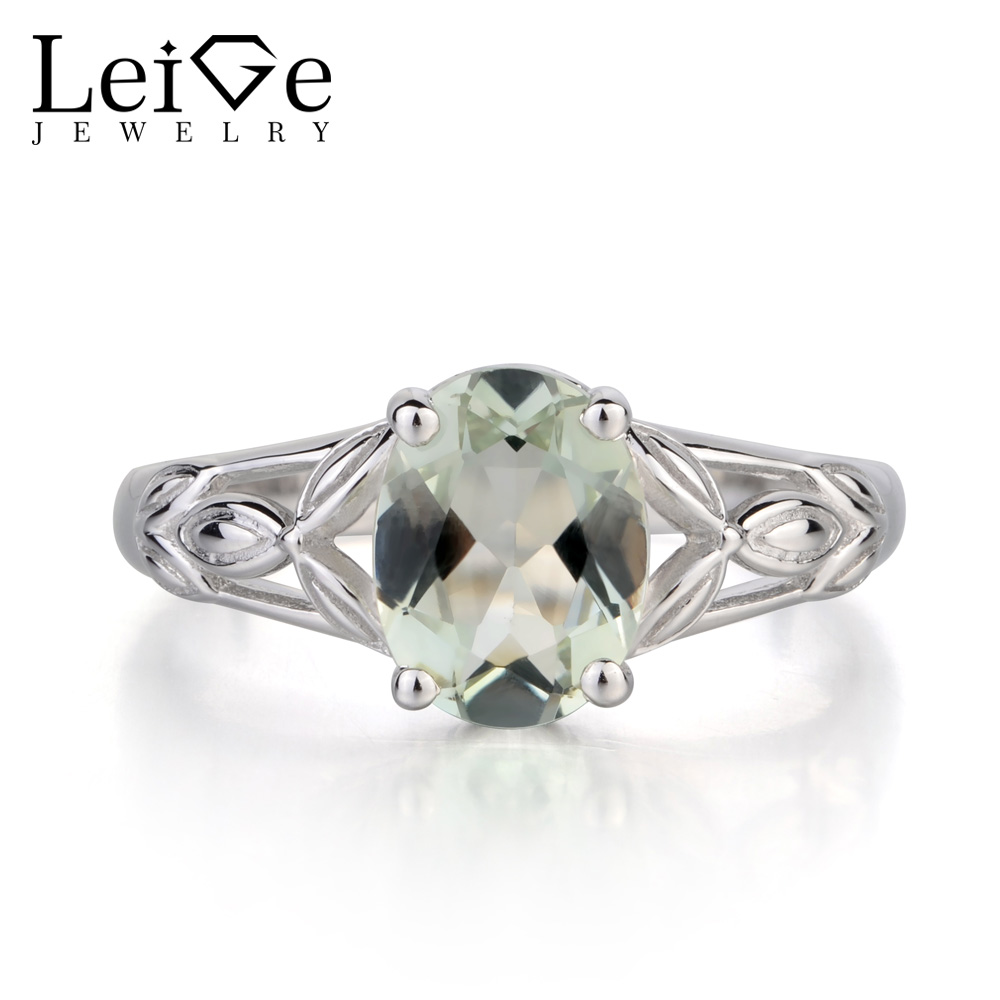 Leige Jewelry Solitaire Real Green Amethyst Ring Oval Cut Ring Fine Gemstone wedding Ring Solid 925 Sterling Silver Ring for Her leige jewelry solitaire ring natural green amethyst ring round cut wedding ring gemstone 925 sterling silver ring gift for women