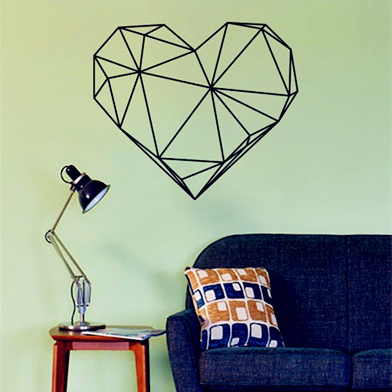 hot heart shaped diamond design wall stickers geometry vinyl decals suitable for smooth art vinyl - Designer Wall Stickers