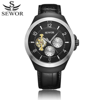 SEWOR Men Mechanical Watch Automatic Self Wind Leather Man Watches Leather Tourbillon Wristwatch Reloj Automatico De Hombre
