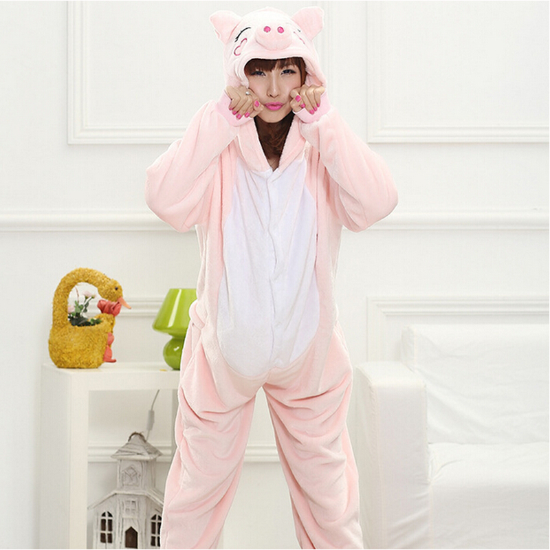 Animal Pig Kigurumi Onesie Adult Teenagers Women Pijama Pajamas Funny Flannel Warm Soft Pink Onepiece Night Home Jumpsuit