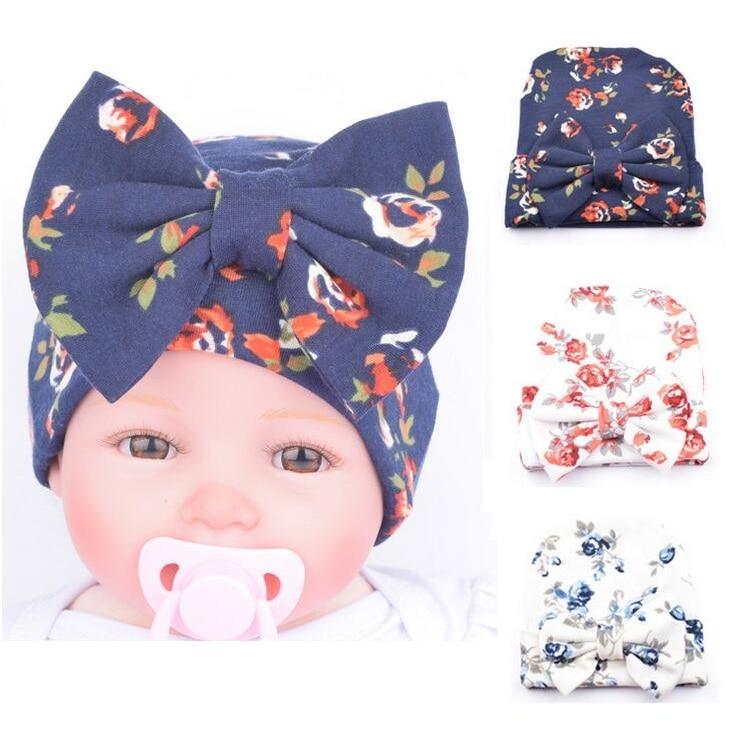 1 PCS Newborn Baby Hat Beanie Flower Bowknot Cap Infant Girls Hospital Cap Toddler Knit Hat Accessories Hospital Hat Купальник