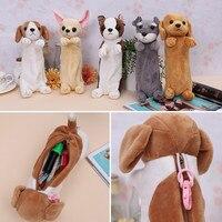 新かわいい動物学校ぬいぐるみチワワおもちゃ犬バッグ Papelaria Pencilcase 子供と恋人のため幼稚園
