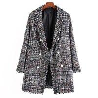 Multicolor Fringe Trim Tassel Tweed Blazer Pearls Decoration Elegant Plaid Long Sleeve Loose Workwear Blazers Women Autumn Coats