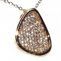 Fillet Triangle Full CZ Pendant Necklace Fashion Jewelry Pure Handmade Pebble 100 Grains ALW1898