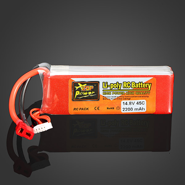 High Quality ZOP Power 14.8V 2200MAH 4S 45C Lipo Battery T Plug Rechargeable Lipo Battery For RC Helicopter Part high quality zop power 11 1v 1500mah 25c lipo battery t plug