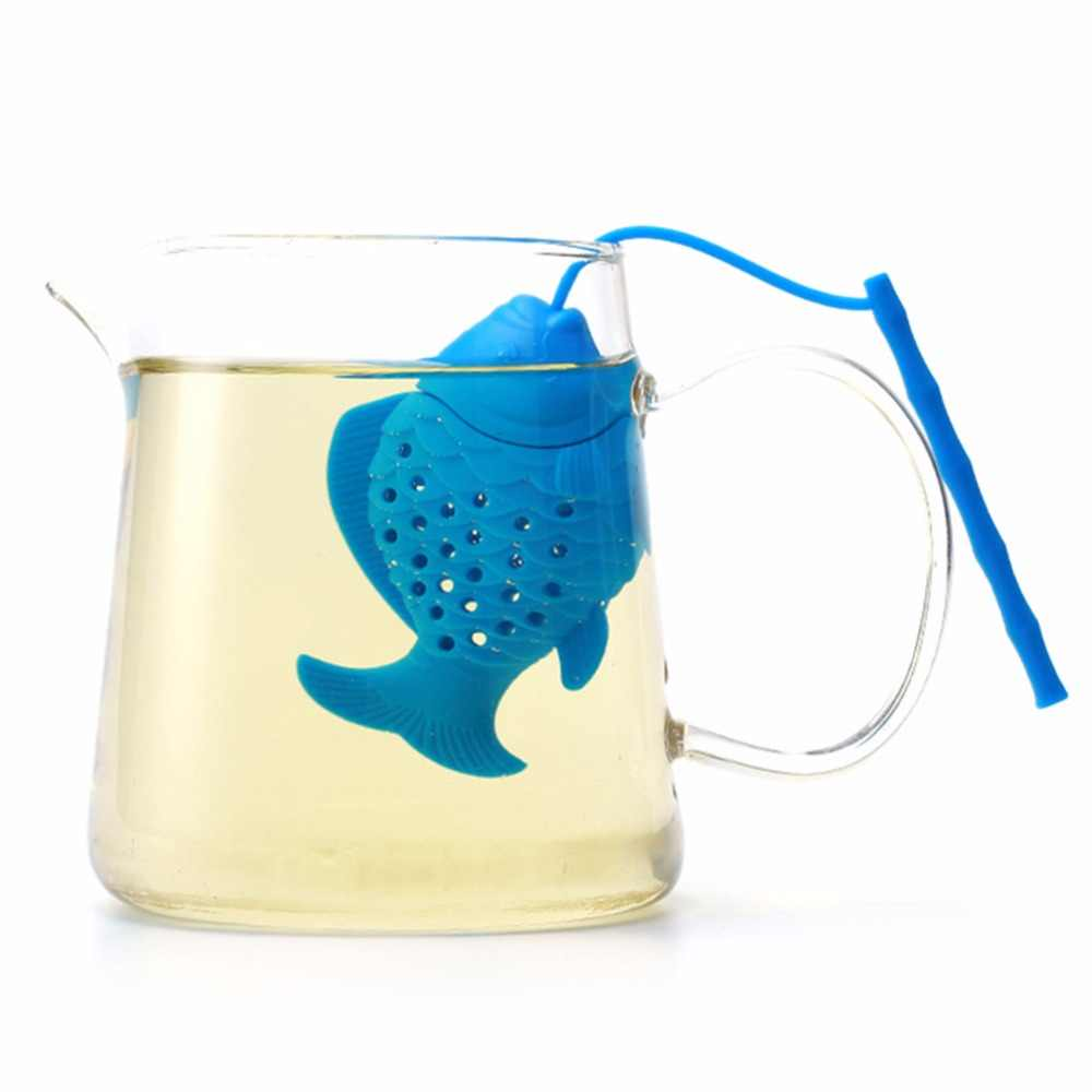 Cute Fish Shape Tea Infuser Food Grade Silicone Spice Herbal Tea Strainer Loose Leaf Filter Fish Shape Tea Ball Accessories
