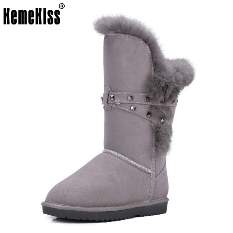 KemeKiss Women 'S Snow Boots Female Real Leather Thick Fur Warm Booties For Women Rivets Agrafe Flat Winter Botas Size 34-40 kemekiss women warm plush warm snow boots for women thick platform ankle botas female thick fur winter footwear size 36 40