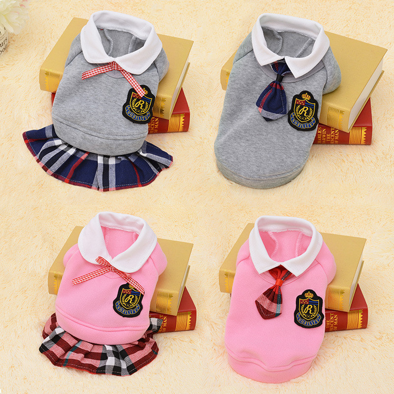 Pet Dog Clothes Puppy School Uniforms Suit for Small Dog Shirt Vest Sweater Jersey Spring Funny small dog Uniforms Cat Costumes