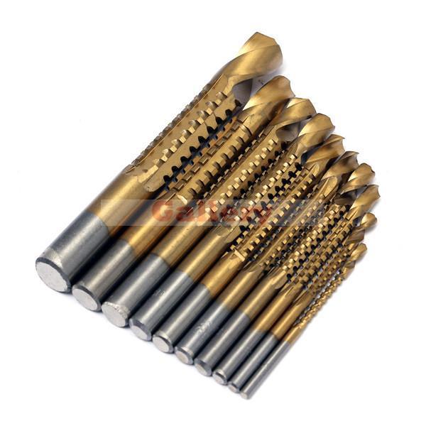 цена на 2 Sets Lot 10pcs Hss 3-13mm Titanium Coated Drill Bit Wood Metal Plastic Cutting Saw 3 Sharpening Drill Bit Drill Bit Set