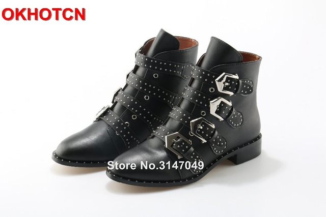4391ad465fae Black Leather Rivets Studded Ankle Boots Women Metal Buckle Strap Sexy  Motorcycle Booties Flat Heel Women