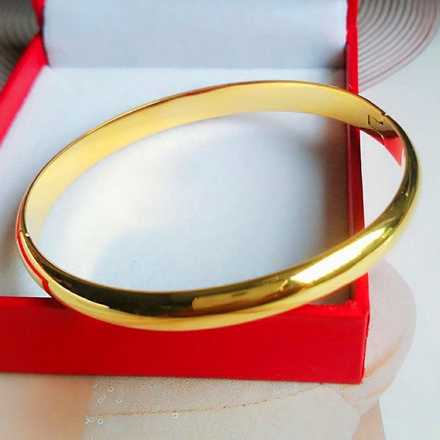 6050b5f8c Simple Style Solid Smooth Bangle Bracelet Yellow Gold Filled Womens Bangle  Openable Jewelry Classic Gift Dia 6cm