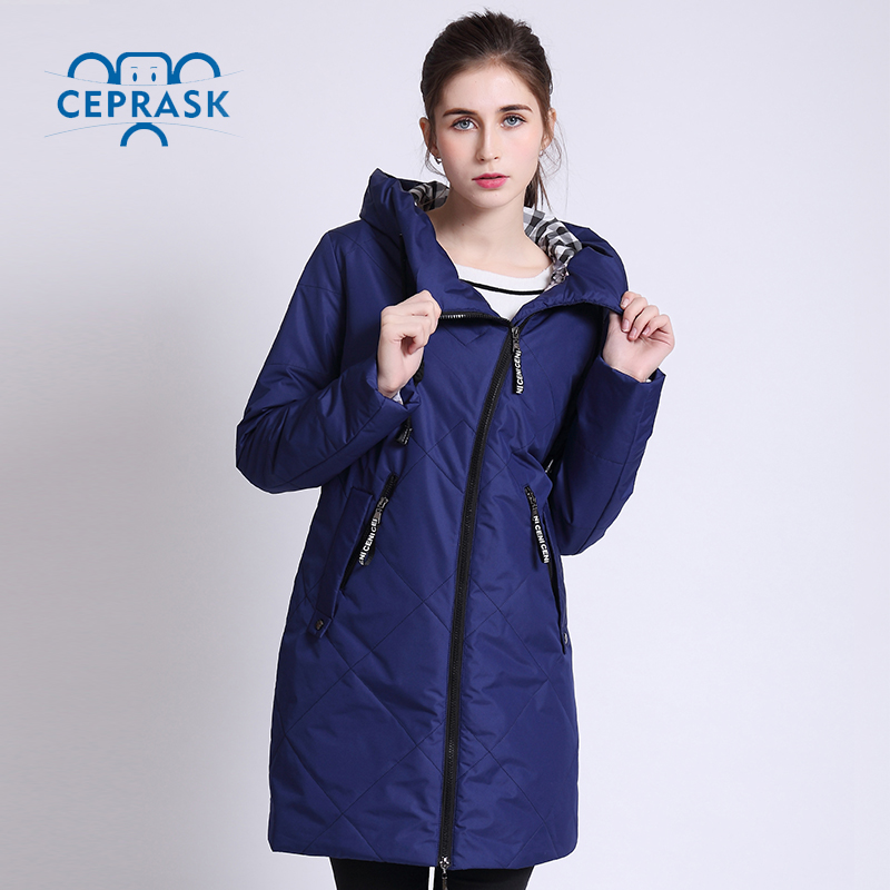 2018 High Quality Spring Autum   Parka   Women Thin Jackets Female Windproof Long Plus Size Hooded New Designs Women's Coat CEPRASK