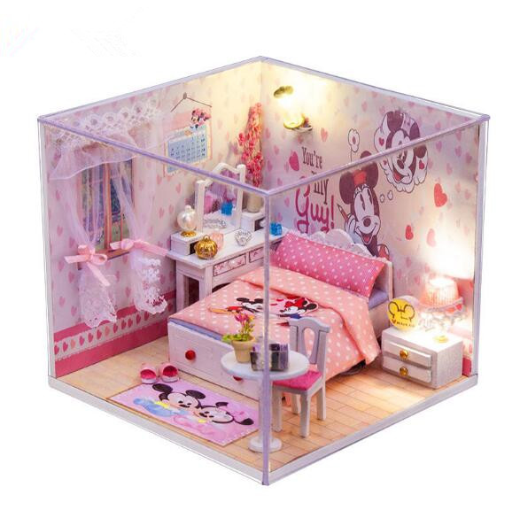 Mickey Mouse Clubhouse Miniature Doll House Model Building Kits Wooden  Furniture Toys DIY Dollhouse Miniatura
