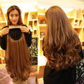 """Hot Sale European and American Women Full Lace Half Wigs Long Wavy Black/Brown Synthetic 24"""" Natural Hair Hairpiece"""