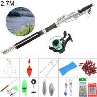 2.7m Durable Automatic Fishing Rod Reel Line Combo Full Kits with Fishing Float Hooks Beads Bell Lead Weight Etc