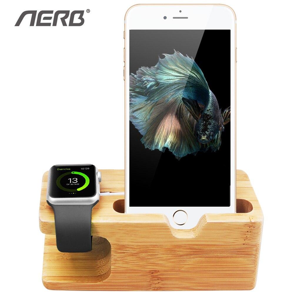 Aerb de bambú, titular del teléfono para el iPhone 6 6 s muelle de carga de Woodden de escritorio Estación de soporte para Apple Watch & iPhone 7 8 Plus X XR XS