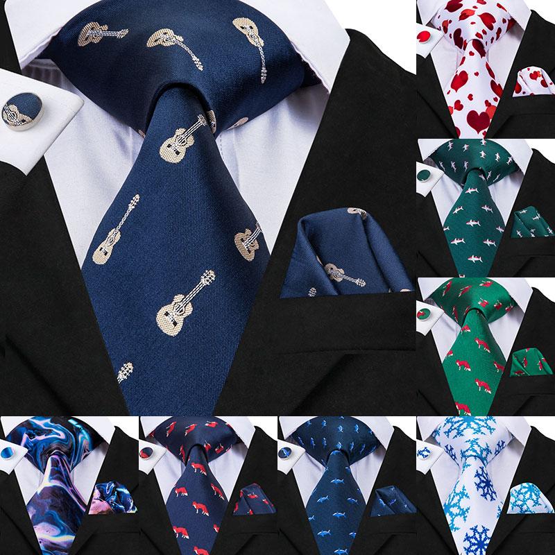 C-3090 Men Tie Silk Woven 8.5cm New Animal Fox Blue Music Tie Necktie Hanky Cufflinks Set Fashion Party Wedding Tie Set For Mens