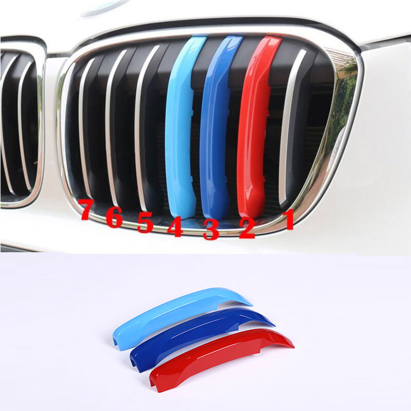 3pcs set Front Grill Trim Decoration Sport Stripes Emblems Car Styling For BMW X1 F48 2016