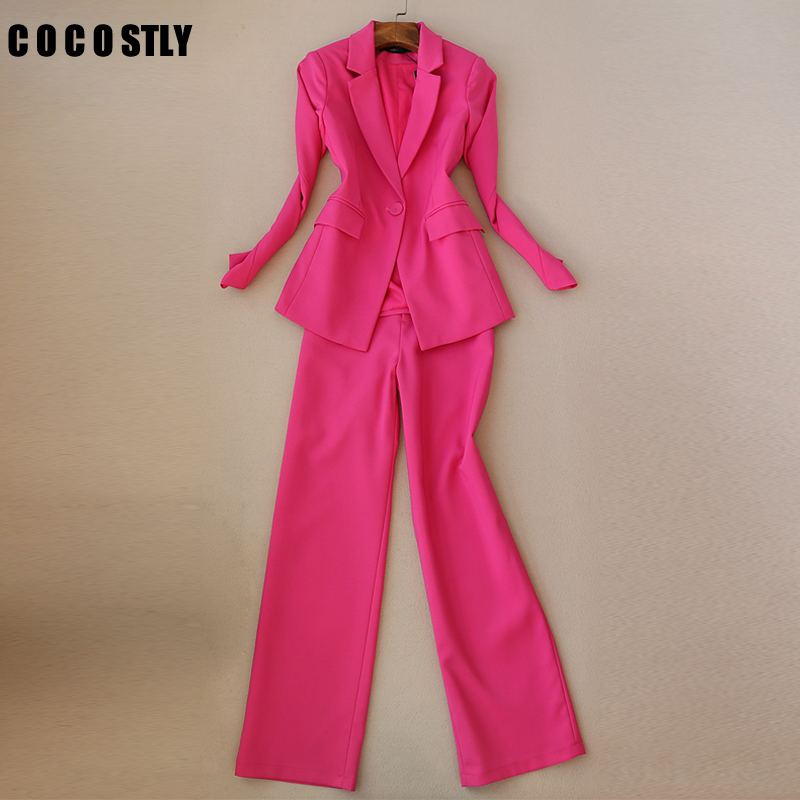 2019 New Fashion Business interview suit women pants suits work office ladies long sleeve slim Formal blazer and pants set