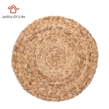 37cm Round Mat Woven Straw Placemat Nature Color Place Mats for Dining Table