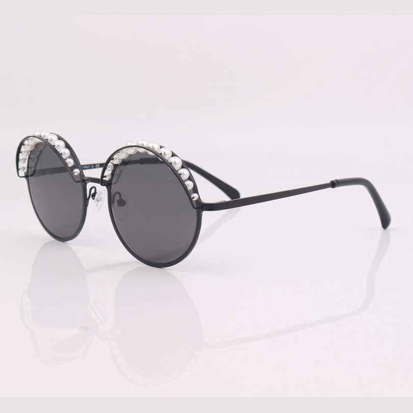 Image 3 - high quality round frame women sunglasses with pearls ,grey lens women sunglasses-in Women's Sunglasses from Apparel Accessories