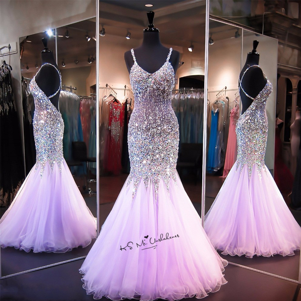 Coral Lavender Luxury Evening Dresses Long Rhinestones Crystals Prom Pageant Women Dress Mermaid Criss Cross Vestido