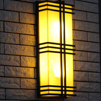 Rectangular Led garden light Marble stone shade E27 Iron outdoor Wall lamp Up & Down Coffee shop decorative lights & lighting
