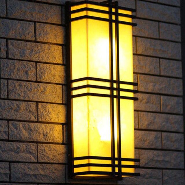 Rectangular Led garden light Marble stone shade E27 Iron outdoor ...