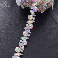 1 yard all glass strass clothings rhinestone trims appliques for wedding dress belt sash crystal AB color sew on patches HF 3413