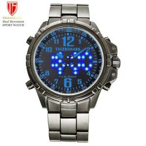 TIGERSHARK LED Digital Watches Men Sports Quartz Wristwatches Male 30M Waterproof Swim Stainless Steel Watch Relogio Masculino