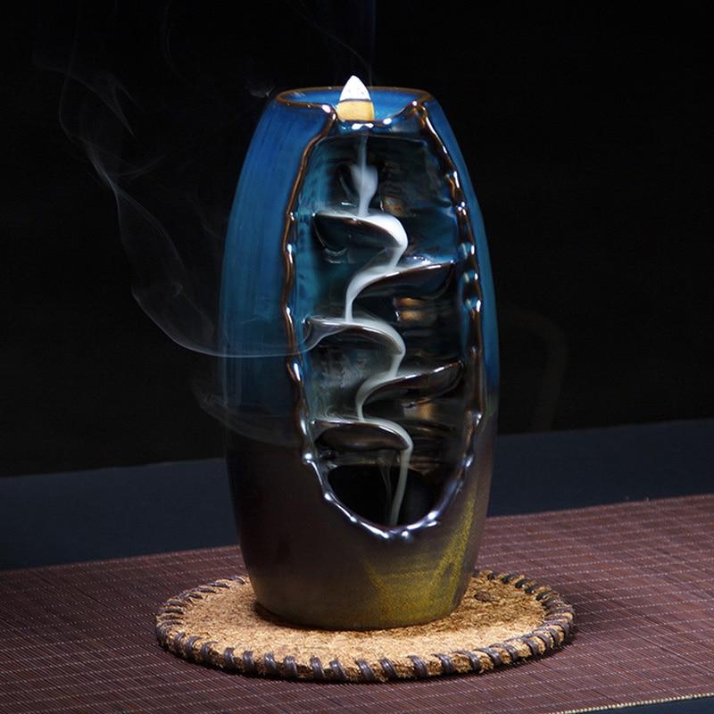 Home Decor Backflow Waterfall Incense Burner Ceramic Smoke Censer Holder