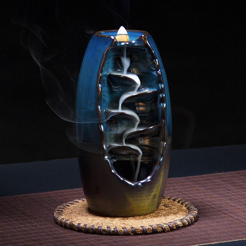 Mountain River Handicraft Incense Holder Ceramic Backflow Waterfall Smoke Incense Burner Censer Holder Mother s Gift