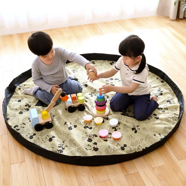 Portable Kids Toy Storage Bag and Play Mat Toys Organizer Bin Box XL Fashion Practical Storage Bags waterproof picnic mat 64142
