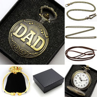 Father S Day Gift DAD Theme Vintage Bronze Fob Pocket Watch With Gift Box Best Present
