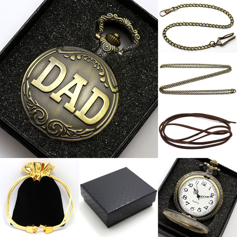 Father's Day Gift DAD Theme Vintage Bronze Fob Pocket Watch With Gift Box Best Present To Father Daddy goods in stock girl tailing full dress performance flower girl host show thick and disorderly princess vest ts21 32
