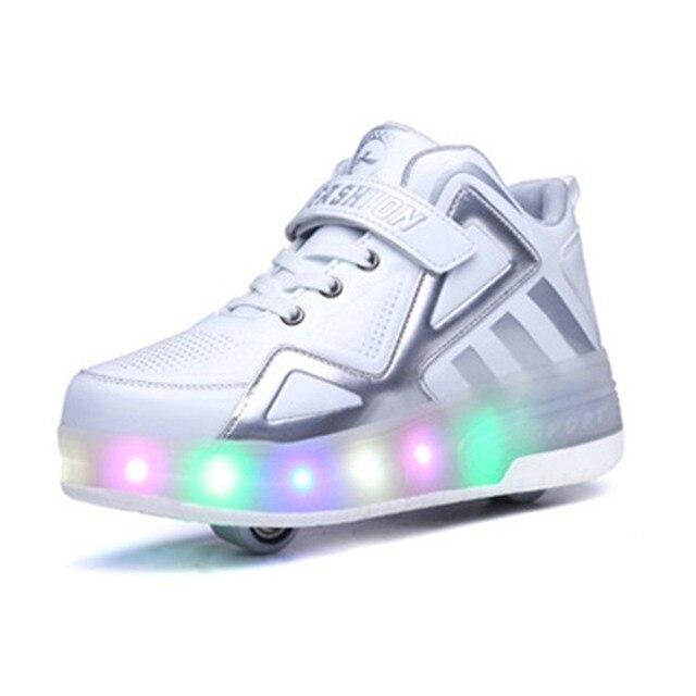 2019 Crianças Sapatas Dos Miúdos Tênis Brilhantes com Duas Rodas Sapatos Patins Crianças Led Light Up Shoes para Meninos Das Meninas