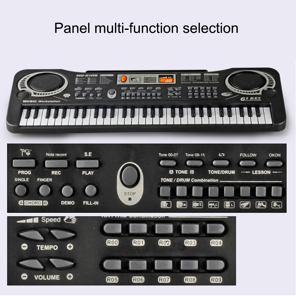 Electronic Organ For Kids Keyboard 61 Keys Digital Electronic Piano Keyboard Electric Piano With Charger Microphone