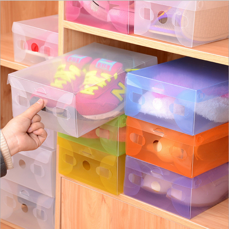 5pcs/lot Multicoloured Opened Rectangle Storage Box Stackable Crystal Clear Plastic Shoe Storage Boxes Folding Case Organizer