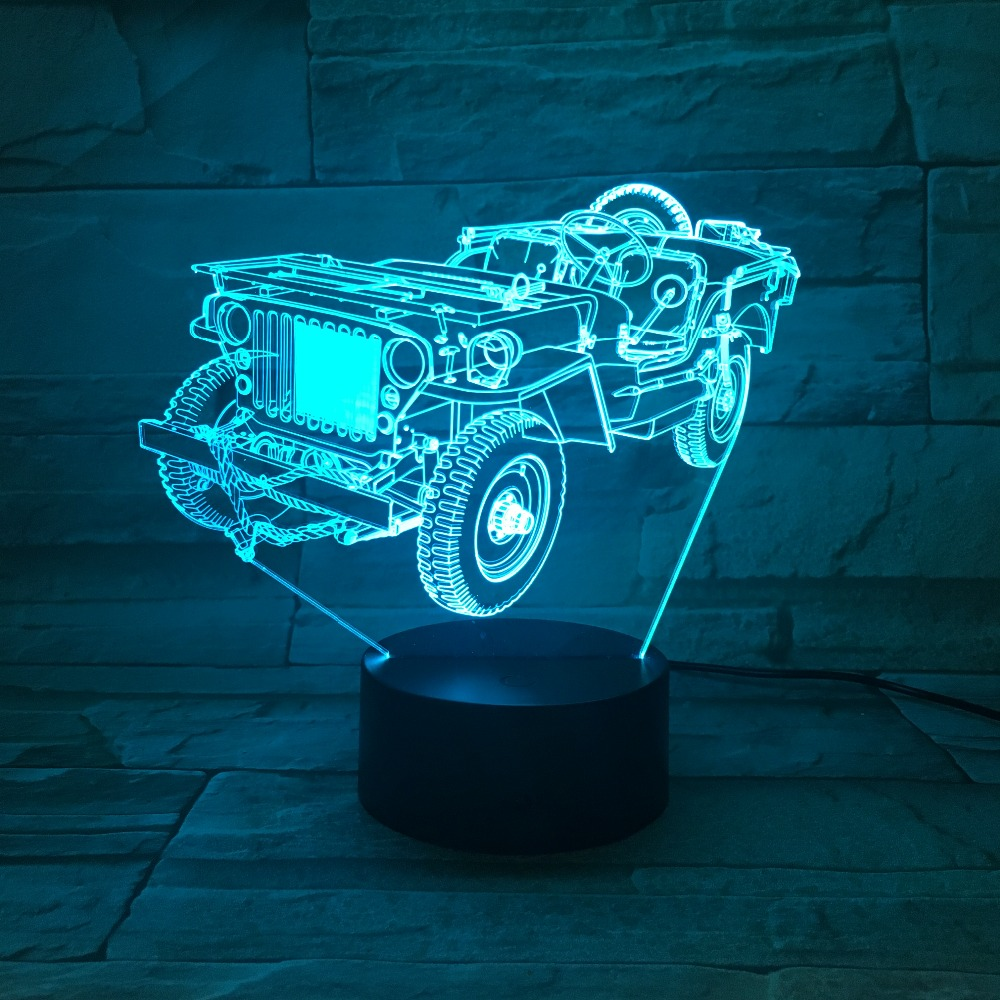 Creative Old Jeep Car 3D light Night Light 7 Colors Change Acrylic LED Table Lamp USB light Bedroom as Gift for Decoration