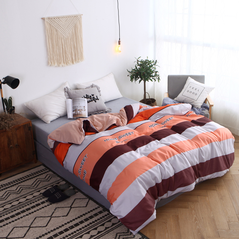 British Style Orange Stripes Duvet Cover Adult Kids Bedding Set Soft Cotton Quilt Cover Comforter Case Twin Full Queen King Size