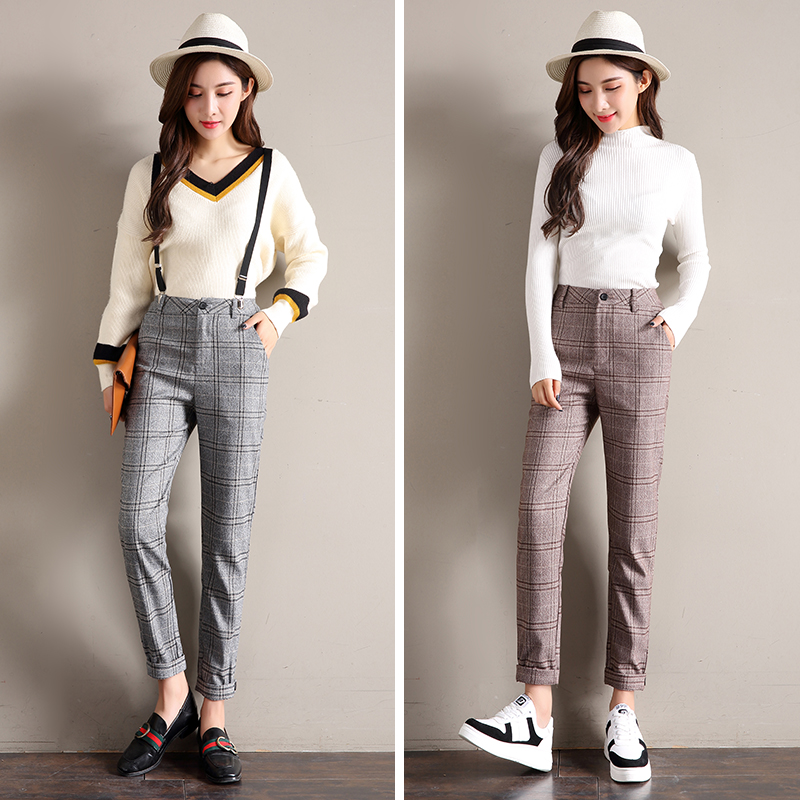 Plaid Pants For Women 2019 Autumn High Waist Ankle-length Ladies Suspender Harem Pants Vintage Plaid Trousers Pantalon Femme