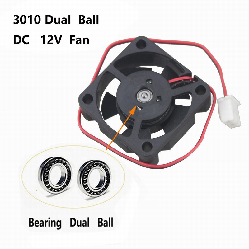 2 pcs Gdstime High Speed 30mm x 10mm 12V Dual Ball Bearing 2Pin Small DC Cooler Cooling Fan 30x30x10mm 3cm 2 pcs gdstime tow ball bearing 48v 170mm x 50mm circle cooler metal case industrial dc cooling fan 172mm x 51mm 2pin 17cm 17251