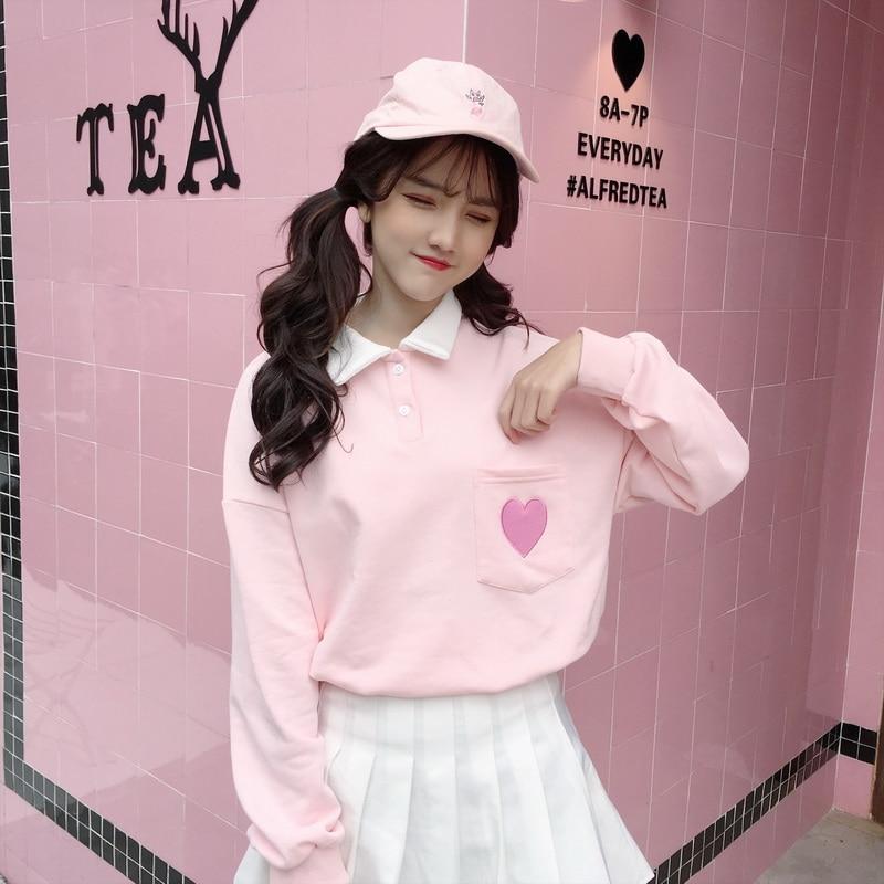 Cotton Cute Love Embroidery Girls T Shirt Harajuku Fashion Loose Lapel Women Tops Long Sleeve Shirt Sweet Pink Student T-shirt