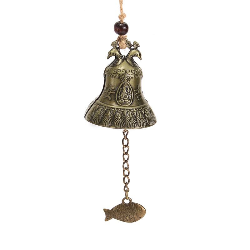 Traditional Hanging Wind Chime Chinese Bell Blessing Good Luck Fortune Peacock Chinese An Ji Character Home Decoration Crafts