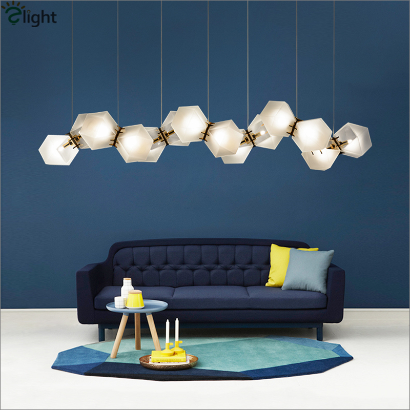 Post Modern Wells Frosted Glass DNA Pendant Light Lustre Led Pendant Lamp Luxury Living Room Hanging Light Fixtures