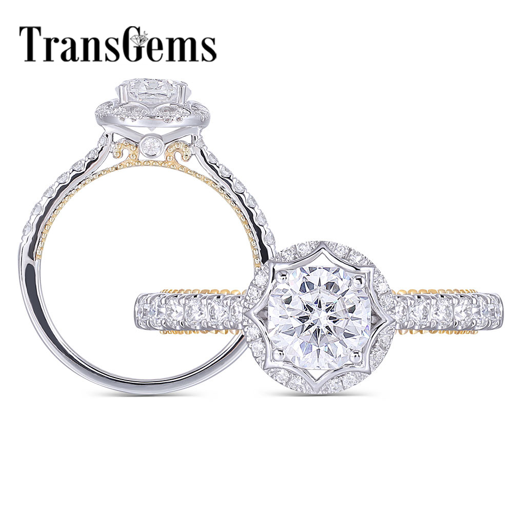 Transgems 14K 585 White and Yellow Gold 1ct 6X6mm F Color Octagon Cut Moissanite Halo Engagement