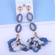 LiuXSP Cloth Tassel Drop Earrings Long Earrings Fashion 2020 New Pendant Earrings Wooden Fabric Ladies Best Gift For Couples gray black long stripe cloth drop earrings